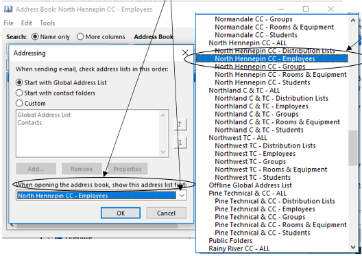 Select North Hennepin from list of address books