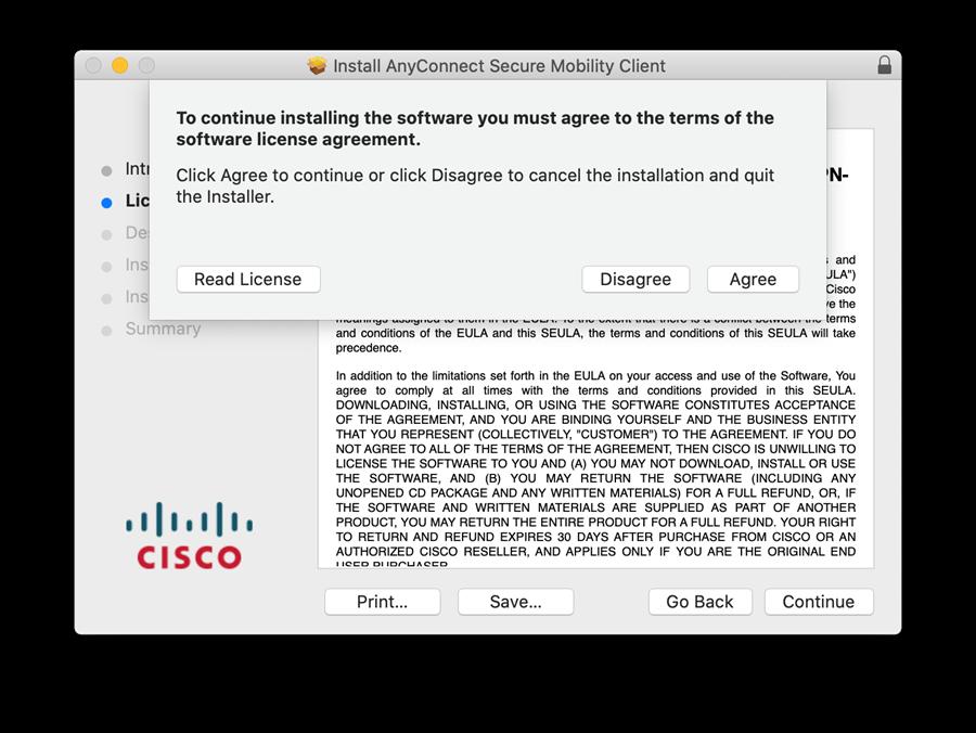 Mac OS VPN Software License Agreement Screen