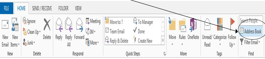 Select Address Book from the Outlook Ribbon