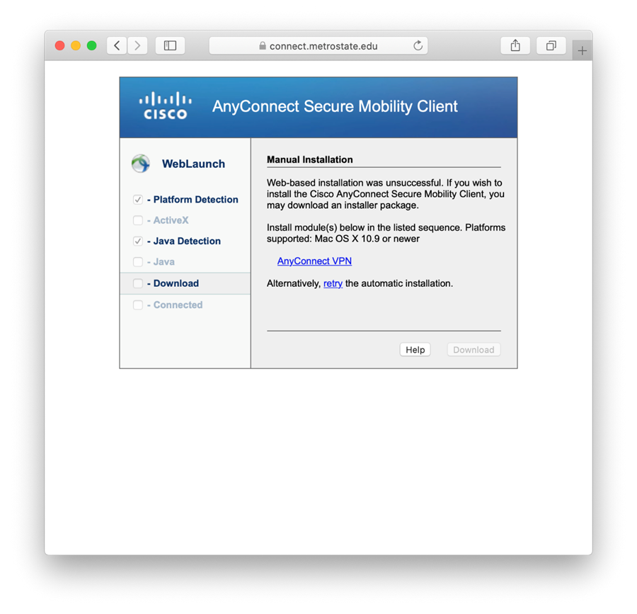Mac OS Manual VPN Install Screen