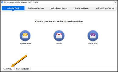 """Screen shot of Invite people to join meeting screen; highlighting in the lower left corner of the popup a button """"Copy URL"""""""
