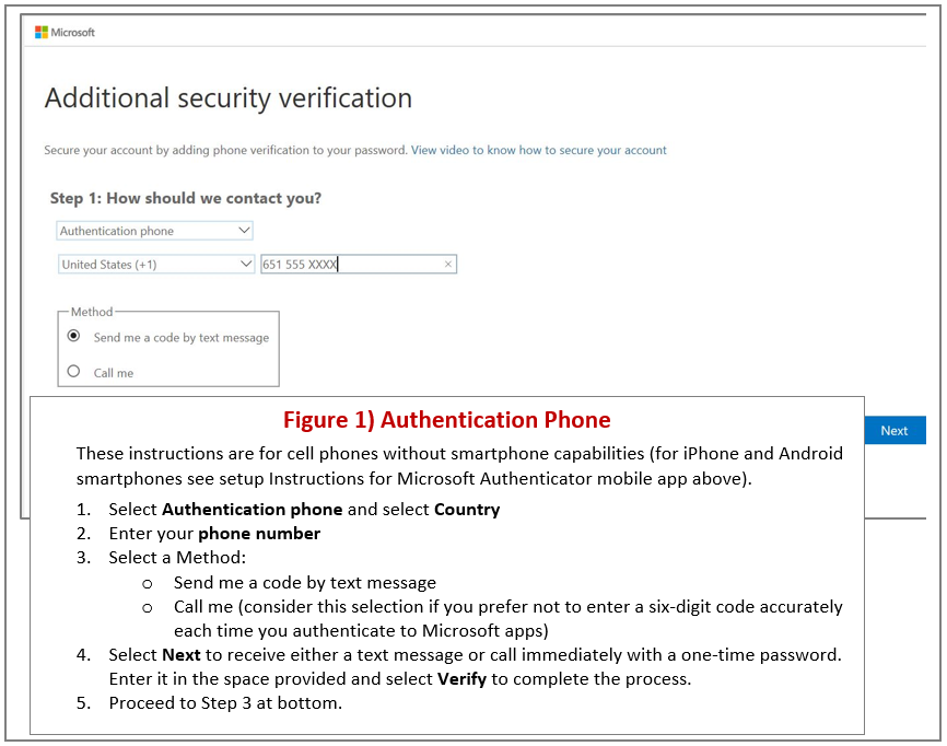 Figure 1 authentication phone. These instructions are for cell phones without smartphone capabilities (for iPhone and Android smartphones see setup instructions for Microsoft Authenticator mobile app above). 1. Select authentication phone and select country. 2. Enter your phone number. 3. Select method: send me a copy by text message or call me (consider this selection if you prefer not to enter a six-digit code accurately each time you authenticate to Microsoft apps). 4. Select next to receive either a text message or call immediately with a one-time password. Enter it in the space provided and select verify to complete the process. 5. Proceed to step 3 at bottom.