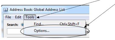 Click tools then options