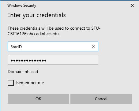 StarID credential window