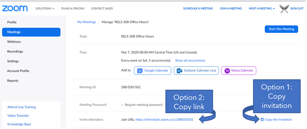 """Screen shot showing zoom meeting landing page with locations of """"Copy the invitation"""" and the """"Join URL:"""" highlighted."""