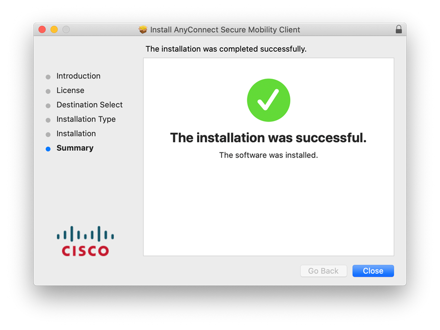 AnyConnect Install Completed Successfully Mac OS